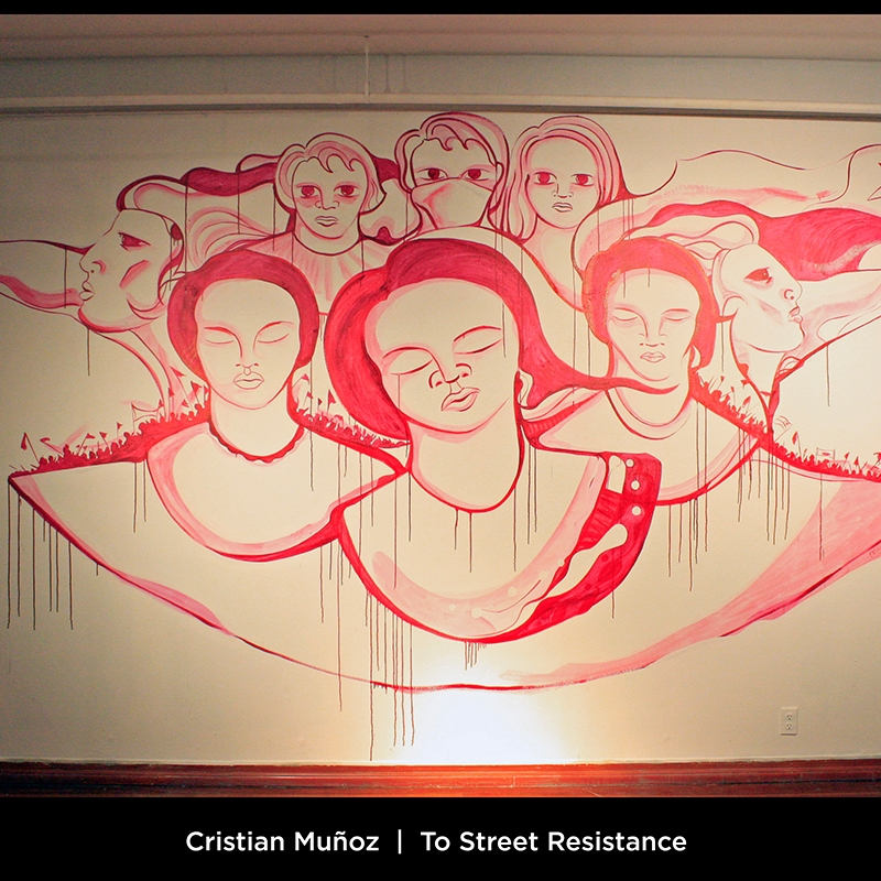Cristian Muñoz: To Street Resistance. This ofrenda is dedicated to the people that died in the streets of Chile during the dictatorship of Augusto Pinochet, especially to those that used walls to denounce the daily horrors lived during that time.