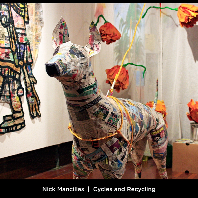Nick Mancillas: Cycles and Recycling. The Aztec hairless dog named Xolotlzuintli plays an important role in the transition of death to rebirth. After death, it is believed that Xolotlzuintli will guide you for seven years until your ultimate rebirth. This sculpture was made of newspapers.