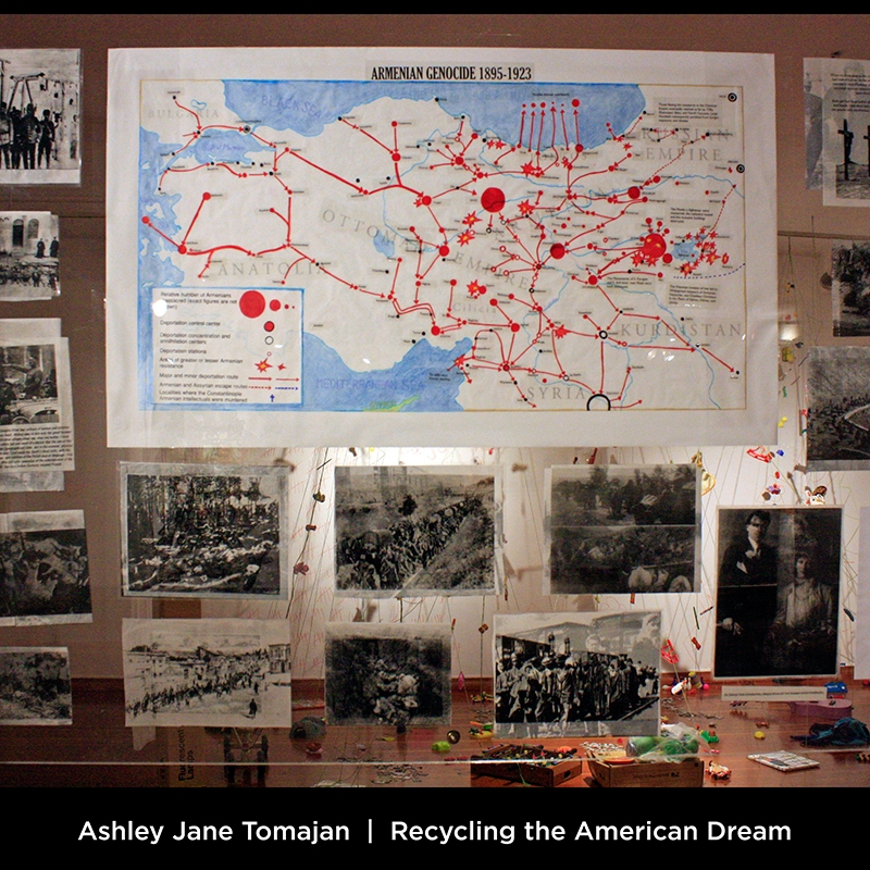 Ashley Jane Tomajan: Recycling the American Dream. This piece is a historical retrospective where one side tells the story of the Armenian ethnic cleansing endured by my maternal kin, and the other side illustrates the account of my maternal ancestors during Volga German genocide.