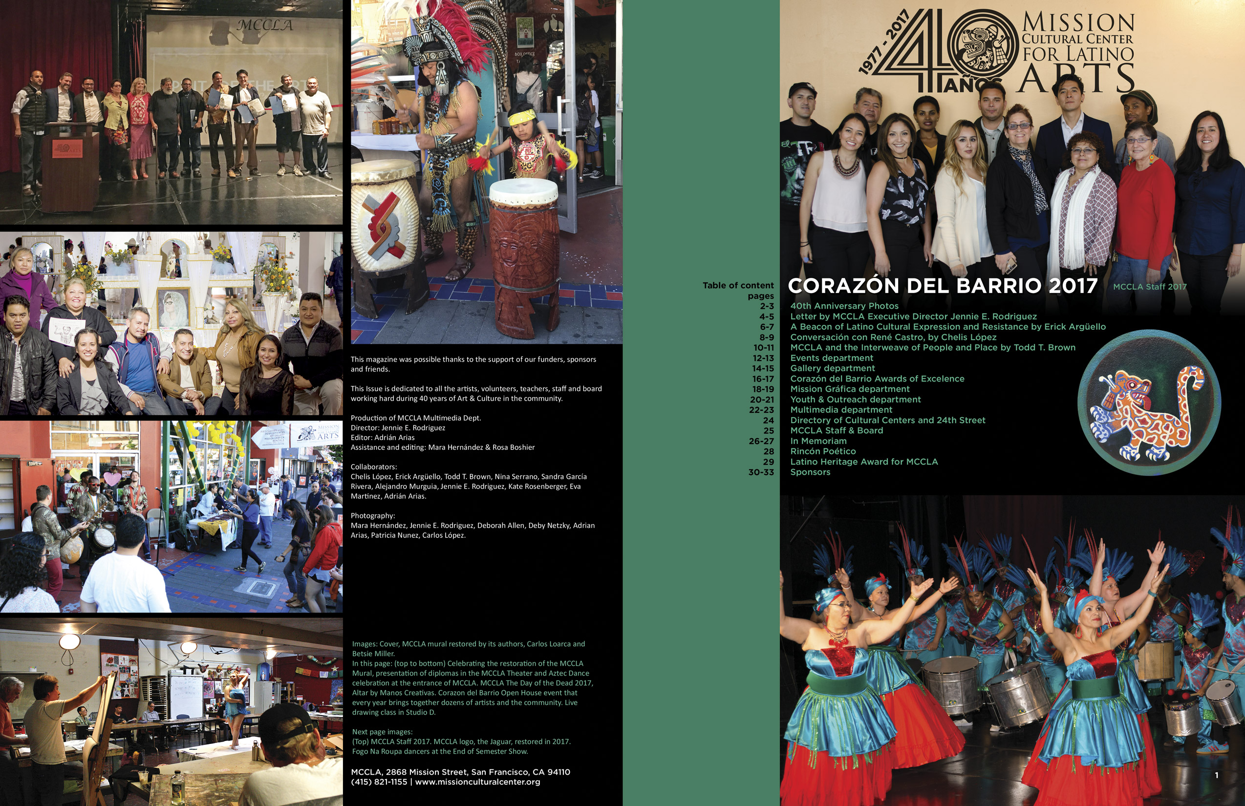 MCCLA Magazine 40th Anniversary Inside Cover & Page 1