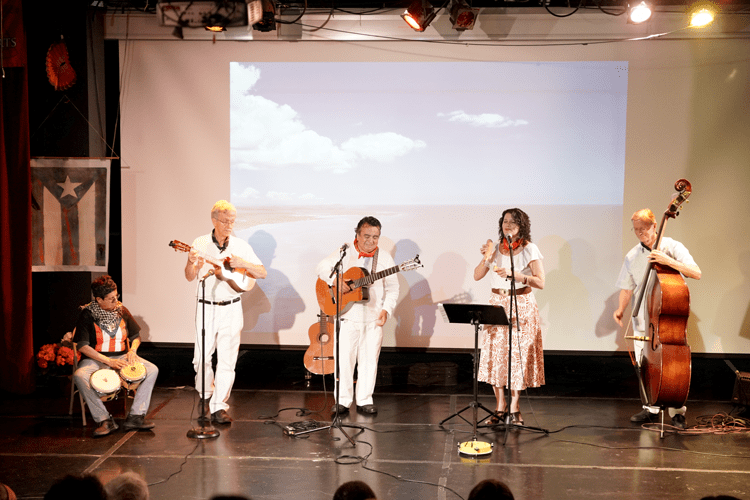 Madelina y los Carpinteros performing in MCCLA's theatre at the West Coast premiere of Jurakán.