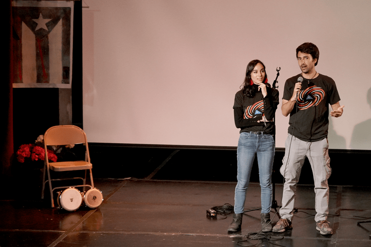 Gonzalo Mazzini and Rosa Emmanuelli Gutierrez answering questions about their film, Jurakán.