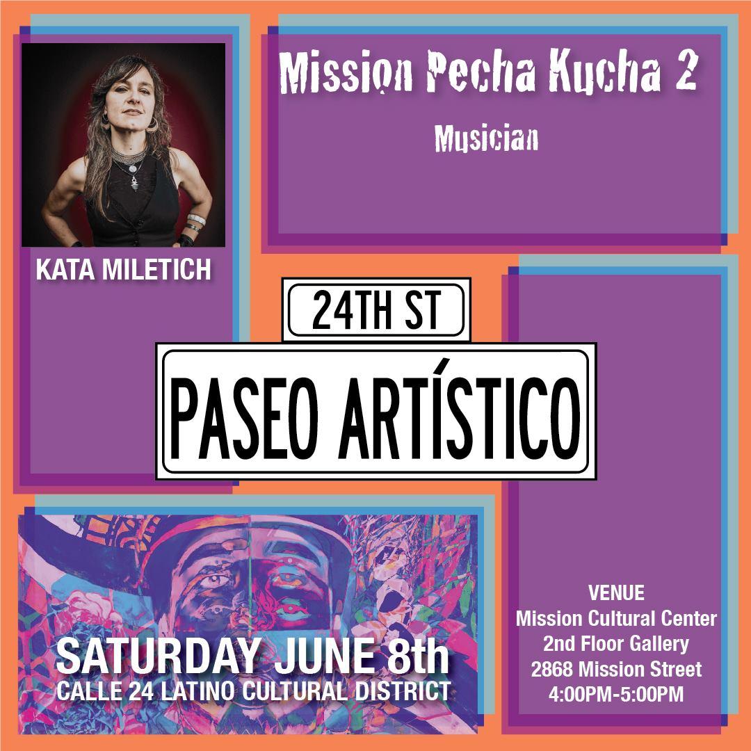 Kata Miletich, Musician presenting at Mission Pecha Kucha 2.