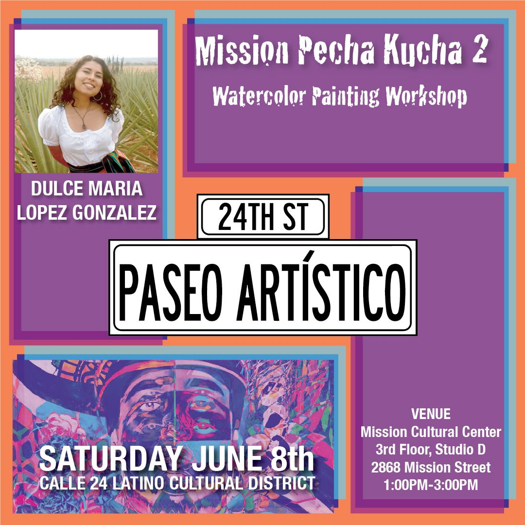 Dulce Maria Lopez Gonzalez, teaching a watercolor painting workshop.