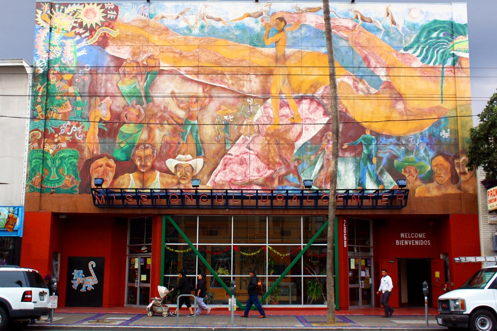 The MCCLA building between 2014 and 2016, with the old mural