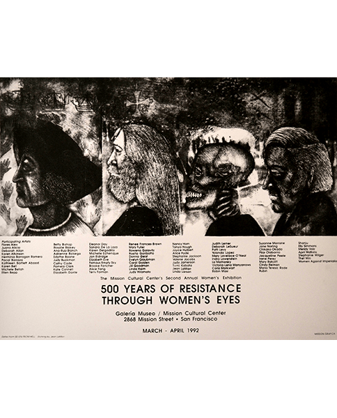 Print 749 - 500 Years of Resistance Through Women's Eyes - Etching by Jean LaMarr, Mission Grafica - 1992