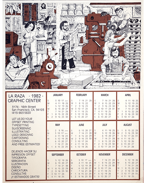 Print LR262 - La Raza Silkscreen Center Calendar 1982