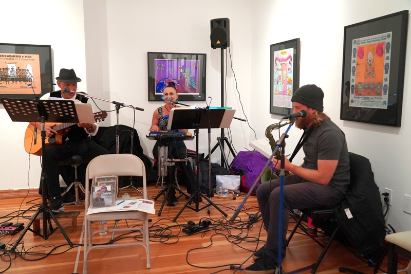 Musicians playing at the fundraiser.
