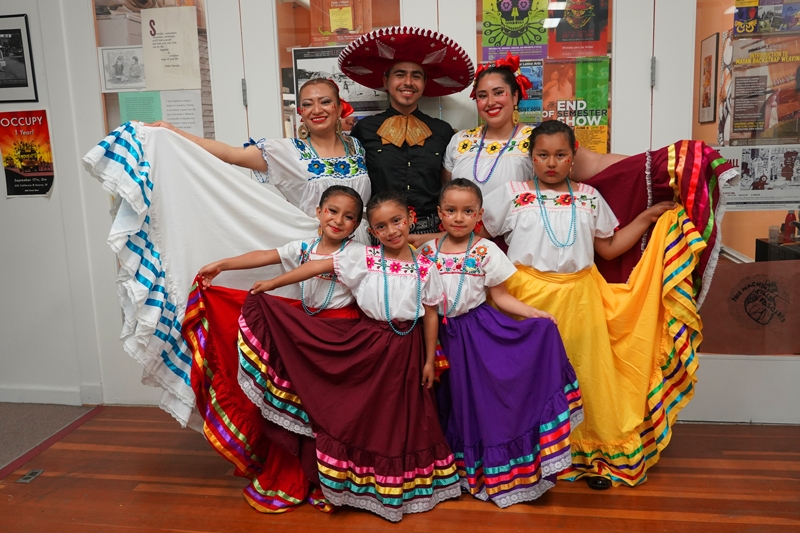 Instructor Pablo Jimenez with his folklorico class.