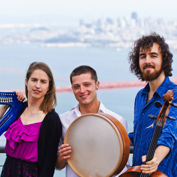 Stringquake members Amelia Romano, Josh Mellinger, and Misha Khalikulov, photo by James Dong (2).
