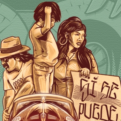 illustration of three people on a lowrider with a sign that says 'Si Se Puede!'